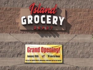 Island Grocery Depot store celebrates its grand opening in Lahaina. Photo by Kiaora Bohlool.