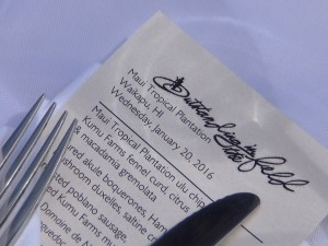 Four-course menu for Outstanding in the Field at Maui Tropical Plantation. Photo by Kiaora Bohlool.