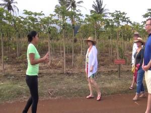 Tour guide Tenisha Ruidas walks diners around the farm. Photo by Kiaora Bohlool.