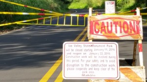 ʻĪao Valley Road has been closed just above the Nature Center for the past few weeks as crews worked to complete park improvements. Photo by Wendy Osher.