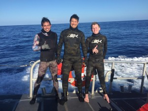 The Coast Guard rescues three missing divers near Penguin Bank, Molokai, Jan. 18, 2016. The divers were located at 4 p.m. six miles from their original location by a Coast Guard 45-foot Response Boat-Medium crew from Coast Guard Station Honolulu. (U.S. Coast Guard photo by Coast Guard Station Honolulu)