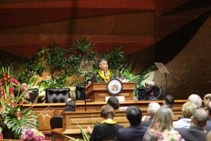 Governor David Ige delivers his 2016 State of the State Address, Jan. 25, 2016. Photo credit: Office of the Governor, State of Hawaiʻi.