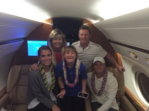 Early this morning the Spieth's took a family photo aboard NetJets before leaving the Valley Isle for Dallas, Texas. Photo by Jordan Spieth @Jordan Spieth.
