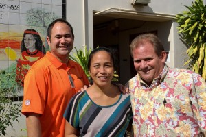 Pictured from left to right: Keola Rogan, Vice Principal Princess Nahi'ena'ena Elementary School; Kalele Kekauoha-Schultz, Princess Nahi'ena'ena Elementary School; John Brans, Duke's Beach House Safety Manager. Courtesy photo.
