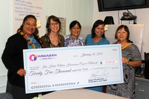 (Left to right) Kuata Ofoia, flight attendant and breast cancer survivor; Amanda Allison, 'Imi Hale Native Hawaiian Cancer Center Network project specialist; JoAnn Tsark, 'Imi Hale Native Hawaiian Cancer Center Network project director; Moana AhYuen Wheelon, flight attendant and breast cancer survivor; and Sharlene Chun-Lum, Papa Ola Lōkahi executive director. Hawaiian Airlines photo.