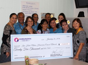 (Left to right, back row) Debbie Nakanelua Richards, community relations director at Hawaiian Airlines; Brian Sabog, flight attendant; Zelda Alimoot, flight attendant; Kuata Ofoia, flight attendant and breast cancer survivor; Debbie Phillips, flight attendant; (front row) Amanda Allison, 'Imi Hale project specialist; JoAnn Tsark, 'Imi Hale Native Hawaiian Cancer Center Network project director; Moana AhYuen Wheelon, flight attendant and breast cancer survivor; Heather Ukauka, flight attendant; and Sharlene Chun-Lum, Papa Ola Lōkahi executive director. Hawaiian Airlines photo.