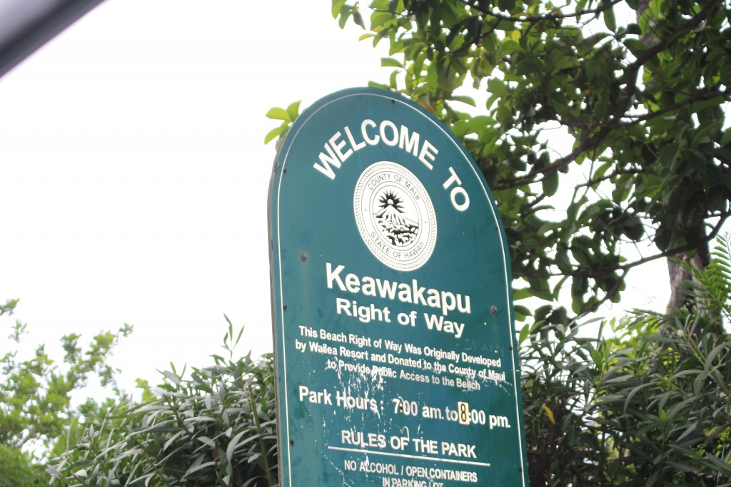One of the 3 Entrance Signs to Keawakapu Beach