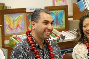 Ian Yahya, VP for Verizon Hawaiʻi. Pukalani Elementary School today received a $20,000 Verizon Innovative Learning grant. Photo, Jan. 21, 2016 by Wendy Osher.