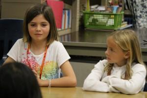 Kaitlin Kitagawa, secretary (left) and Lily Barrett, treasurer (right). Pukalani Elementary School today received a $20,000 Verizon Innovative Learning grant. Photo, Jan. 21, 2016 by Wendy Osher.