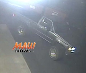 The pickup truck is described as a gray, lifted, single cab 4-wheel drive Toyota pickup truck, model year 1984 ~ 1988 with wide tires and aftermarket rims. The truck was being operated by an adult male. The truck sustained front end damages and a broken driver side headlight and was seen fleeing the scene of the accident.