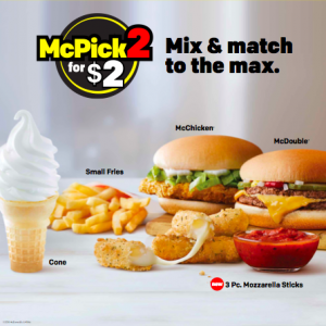 McPick 2 for $2 value menu will last through Feb. 8 at McDonald's. Image courtesy of McDonald's Restaurants of Hawai'i.