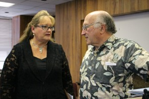 Teena Rasmussen and DIck Mayer at the Jan. 15 energy press conference. Photo credit Wendy Osher