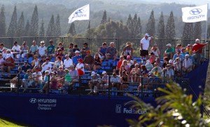 Fans gather on the first tee to watch the final round of the Hyundai Tournament of Champions golf tournament at Kapalua Resort on Sunday. Photo by Brian Spurlock of USA TODAY Sports.