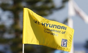 The flag on the second hole blows in the wind during the third round of the Hyundai Tournament of Champions golf tournament at The Plantation Course on Saturday. Photo by Brian Spurlock of USA TODAY Sports.