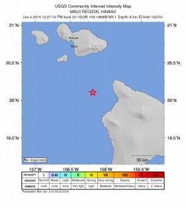 Earthquake, Monday, Jan. 4, 2016.  Image credit: USGS