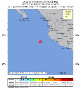 Mexico earthquake, Jan. 21, 2016. Image credit: USGS.