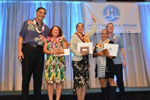 (Left to right) Mufi Hannemann, HLTA President & CEO; Heidi Michel-Bunyard, second place winner in the Outstanding Lodging Employee of the Year category; Emily Arcangel, first place winner for Outstanding Lodging Employee of the Year; Celena Burkhart, third place winner for Outstanding Lodging Employee of the Year; and Ben Rafter, HLTA chairperson. Photo courtesy HLTA.