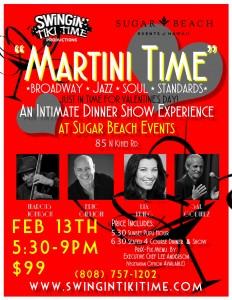 Martini Time dinner show happens Saturday, Feb. 13 on Sugar Beach. Image courtesy of Sugar Beach Events.