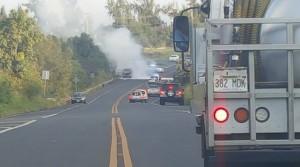 Vehicle fire near DT Fleming in West Maui, Jan. 16, 2016.  Photo credit: Benjamin Pietsch.