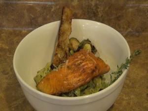 Salmon special with herb pesto and Kumu farms oregano at Maui Pasta Company. Photo by Kiaora Bohlool.