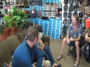 Steve Seitz with Island Feet helps customers. Photo by Kiaora Bohlool.