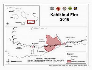 Kahikinui Brush Fire as of 2.18.2016 (Map: Maui Fire Department)