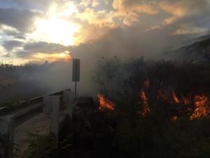 Kahikinui fire, 2/15/16. Photo credit: Spencer Boomer.