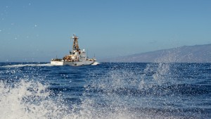 USCGC Kiska (WPB 1336) transits off Maui in the Hawaiian Islands Humpback Whale National Marine Sanctuary, Feb. 11, 2016, during Operation Kohola Guardian. Coast Guard members from Station Maui and the Kiska and officers from the Hawaii Department of Land and Natural Resources conducted safety and compliance boardings on recreational and commercial vessels to inform the public of the requirements to avoid coming too close to whales or impeding the whales' path. (U.S. Coast Guard photo by Chief Petty Officer Sara Mooers/Released)