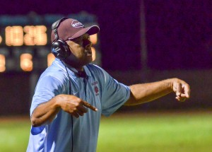 Former Baldwin High School defensive coordinator Jack Damuni on the sidelines last season. File photo by Rodney S. Yap.