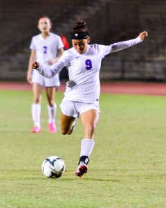 Seabury Hall's Alissa Lei Walin takes a shot attempt in the first half Wednesday of the Spartans' MIL Division II match with St. Anthony at War Memorial Stadium. Seabury won 2-1. Photo by Rodney S. Yap.