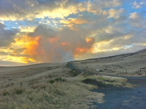 Kahikinui fire, photo taken at around 5:30 p.m. on Monday, Feb. 15, 2016, credit: Kalepa Farm.