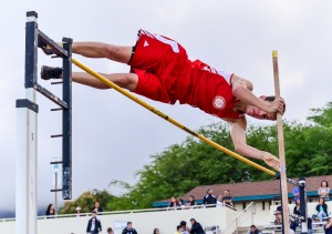 Lahainaluna's Anis Bel clears 12 feet in the boys pole vault Friday. Photo by Rodney S. Yap.