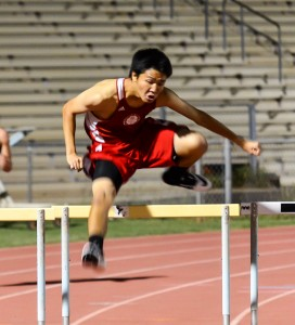Lahainaluna hurdler competes in the 300 intermediates Friday. Phioto by Rodney S. Yap.