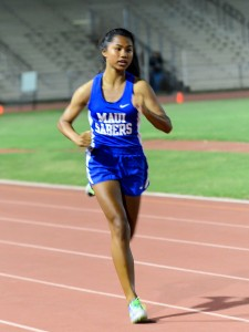 Maui High sprinter Alyssa Mae Antolin wins the 200 in 25.97 seconds Friday. Photo by Rodney S. Yap.