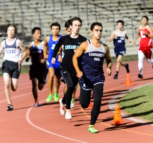 Kamehameha Maui's Ikaika Renauld set the pace early en route to victory in the boys 800-meter run. Renauld was timed in 2:09.10. Photo by Rodney S. Yap.