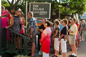 6 - Guests waiting to attend the Artists Aloha Reception at Village Galleries