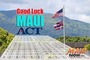 Good luck Maui! Maui Now graphic.