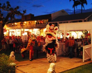 Lion dancing in front of Wo Hing temple on Front Street. Photo by Amy Moore.