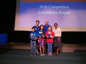 Countdown Round (head to head game show style competition): Maya Ito (Pukalani Elementary School); Emily Tom (Pōmaikaʻi Elementary School); Derek Takeno (Pōmaikaʻi Elementary School). Courtesy photo.