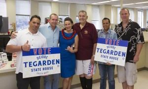 Deidre Tegarden surrounded by supporters as she officially files papers for the 2016 election. Courtesy photo.