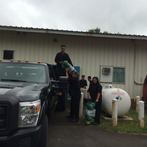 Maui Job Corps Students loading supplies from (L-R) Justin Sinon, Lywai Basa, Robert Elaydo, Kayven Phal, Sandra Corderio.