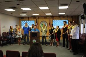 Maui Mayor Alan Arakawa introduces the inaugural class of Maui Mavericks at a press conference on Thursday, Feb. 18, 2016. Photo by Wendy Osher.