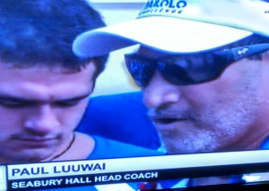 Seabury Hall head coach Paul Luuwai talks to the media following the Spartans' win in the Mixed Division Saturday at Ke'ehi Lagoon. Photo from xcast.OC16TV.