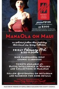 Mana Ola on Maui event poster.