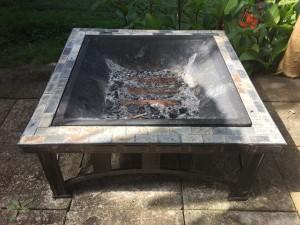 Portable outdoor fire pit grill. Photo credit Debra Lordan.
