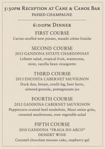 Menu for Gandona Winemaker Dinner at Cane & Canoe in Kapalua on Feb. 10. Courtesy image.