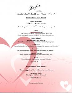 Longhi's Valentine's prix-fixe menu options. Courtesy image.