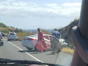 Motor vehicle accident on Honoapiʻilani Hwy at McGregor's Point, 2/18/16. Photo credit: Dustin Costa.