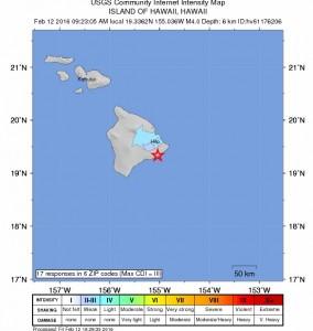 Kilauea earthquake map. Image courtesy: USGS.