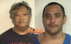 Father and son Joseph and Brandon Oania were arrested on suspicion of first degree arson. Photos courtesy: Maui Police Department